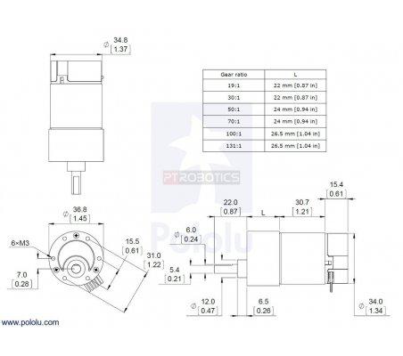 50:1 Metal Gearmotor 37Dx70L mm with 64 CPR Encoder Pololu