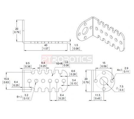 Pololu 20D mm Metal Gearmotor Bracket Pair | Hub's e Suportes | Pololu