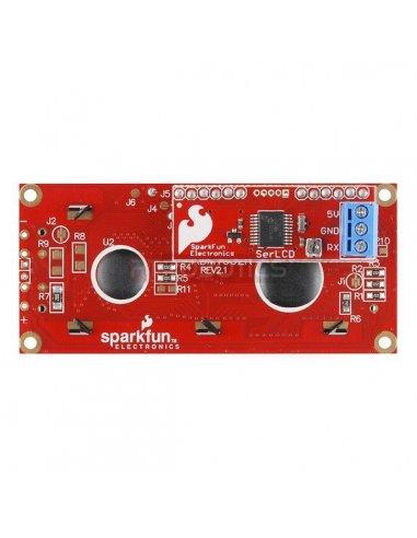 SparkFun Serial Enabled 16x2 LCD - Branco on Black 3.3V   LCD Alfanumerico   Sparkfun