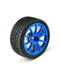 Rubber Wheels Blue 65x26mm - Pack of 2