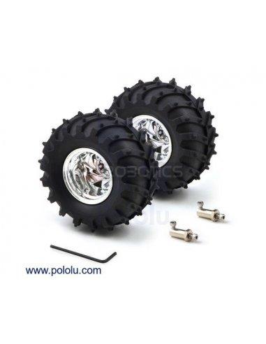 Dagu Wild Thumper Wheel 120x60mm Pair with 4mm Shaft Adapters - Chrome | Rodas para Robôs | Pololu