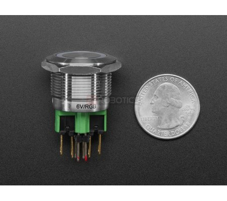 Rugged Metal Pushbutton - 22mm 6V RGB Momentary | Push Button | Adafruit