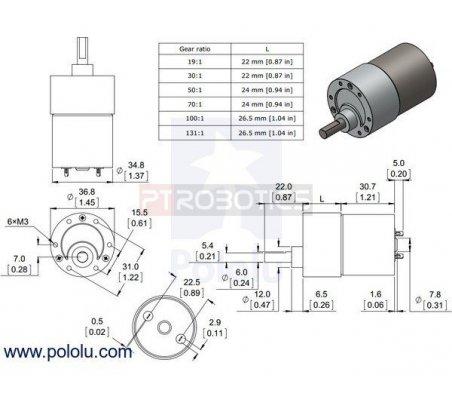 30:1 Metal Gearmotor 37Dx52L mm | Motor DC com Engrenagens | Pololu