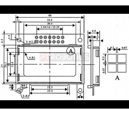 8x2 Character LCD - Black Bezel (Parallel Interface) | LCD Alfanumerico | Pololu