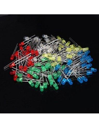 PTRobotics 5mm Led 500pcs Kit - Red, Blue, Green, Yellow and White