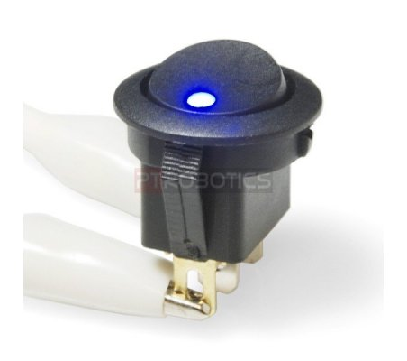 Rocker Switch - Round w/ Blue LED Sparkfun