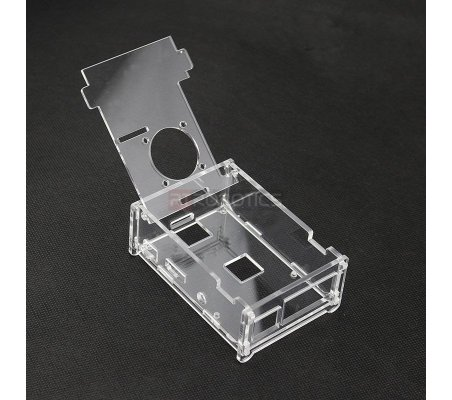 Acrylic Case w/ Fan opening for Raspberry Pi B+, 2 and 3   Caixas Raspberry pi  