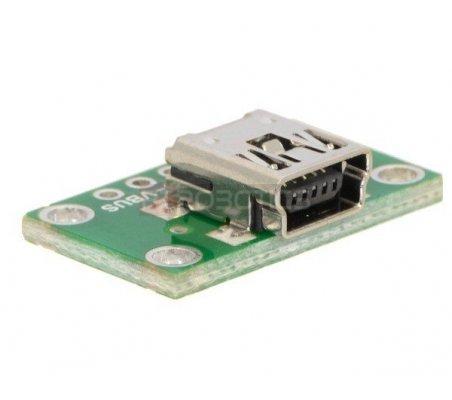USB Mini-B Connector Breakout Board   Ficha USB   Pololu