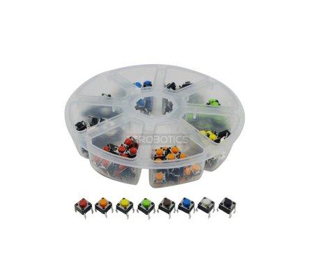 Push Button 6x6x5mm 8 Color Set - 160pcs | Tactile Switch |