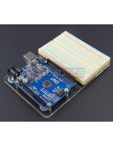 Acrylic Baseplate for Breadboard and Arduino Uno R3 | Caixa Arduino |