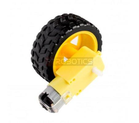 Rubber Wheel w/ Micro DC Geared Motor 3-6V