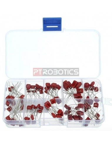 PTRobotics Metallized Polyester Film Capacitor Assortment Kit w/ Box - 100pcs | Condensadores Poliester |