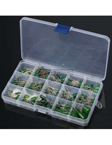 PTRobotics Polyester Film Capacitor Assortment Kit w/ Box - 150pcs | Condensadores Poliester |