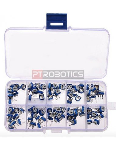 PTRobotics Horizontal Trimpot Potentiometer Assortment Kit w/ Box - 100pcs | Kits PTRobotics |