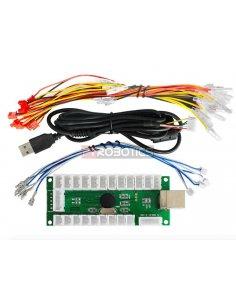 USB PC Arcade Joystick Game Controller LED Encoder Board w/ Light Cable