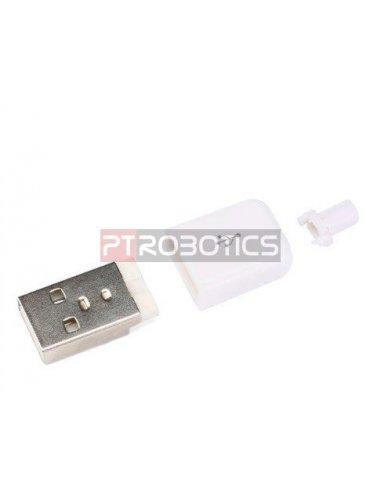 DIY Connector Shell USB Type A Male - Branco | Ficha USB |