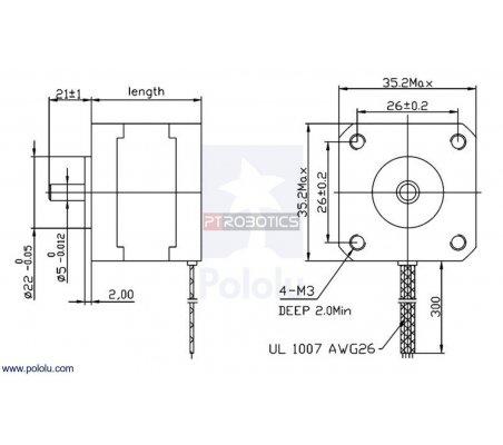 Stepper Motor: Bipolar, 200 Steps/Rev, 35×28mm, 10V, 0.5 A/Phase | Motor Stepper | Pololu