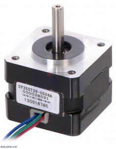 Stepper Motor: Bipolar, 200 Steps/Rev, 35×28mm, 10V, 0.5 A/Phase