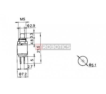 Push Button Momentary SPST 0.5A 125VAC 5mm - Red | Push Button |