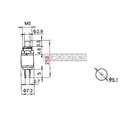 Push Button Momentary SPST 0.5A 125VAC 5mm - Vermelho