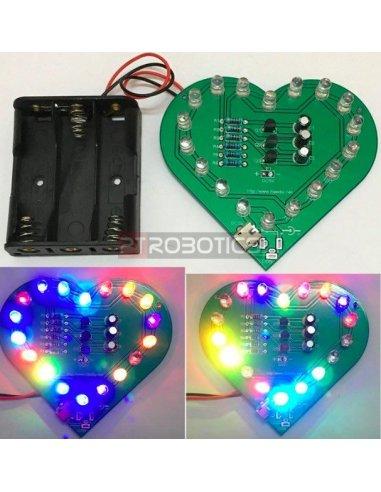 Kit DIY Leds Intermitentes com USB - Forma Coração | Ensino Básico |