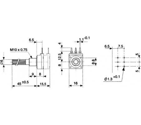 Rotary Potentiometer 2M5 Linear 200mW 6mm