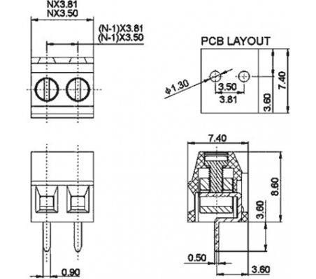 Terminal Block 2P Azul 3.81mm   Terminal Blocks  