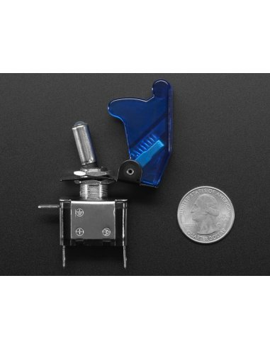 Illuminated Toggle Switch with Cover - Blue   Toggle Switch  