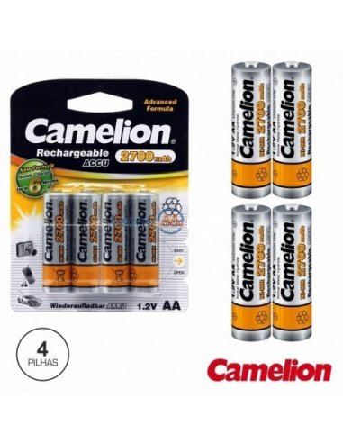 Battery NiMh AA 1.2V 2700mA Blister 4X Camelion   Baterias NiMh e NiCd  