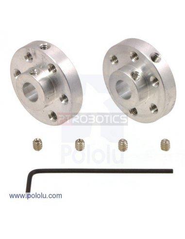 Universal Aluminum Mounting Hub for 6mm Shaft Pair, 4-40 Holes