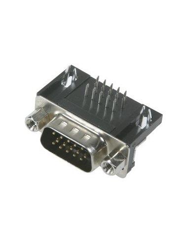 Conector D-Sub de 15 pinos VGA macho angular 90° | D-Sub |