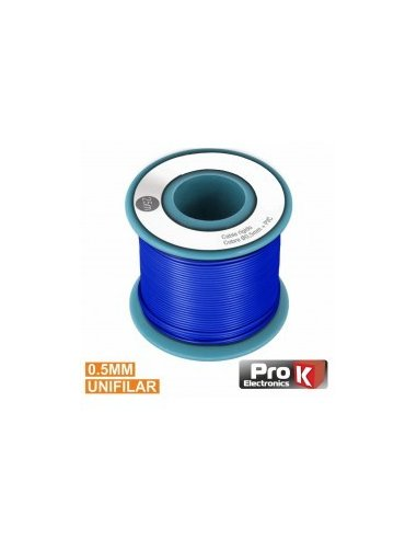 Cabo Unifilar Azul 0.5mm Rolo 25m PROK | Fio electrico |