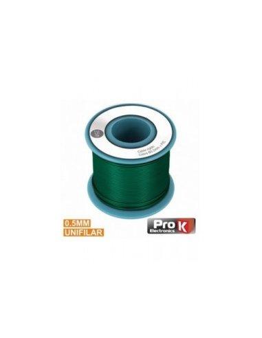 Cabo Unifilar Verde 0.5mm Rolo 25m PROK | Fio electrico |