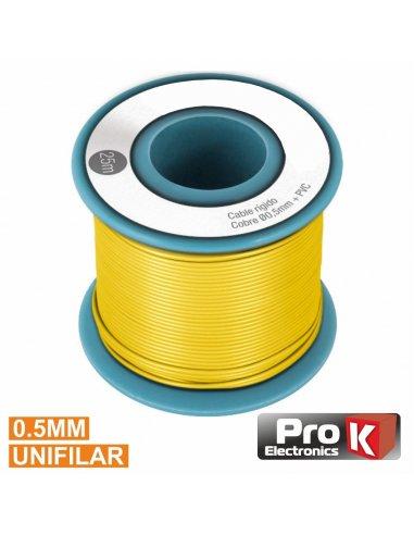Cabo Unifilar Amarelo 0.5mm Rolo 25m PROK