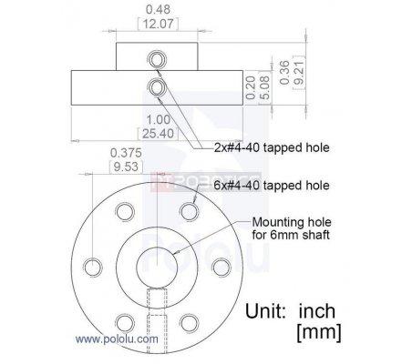 Universal Aluminum Mounting Hub for 6mm Shaft Pair, 4-40 Holes | Hub's |