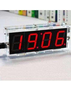 DIY 4 Digit Red LED Electronic Clock Kit w/ Acrylic Case