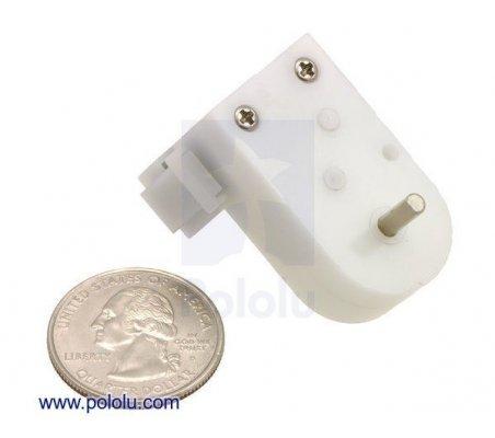 120:1 Mini Plastic Gearmotor HP, 90° 3mm D-Shaft Output