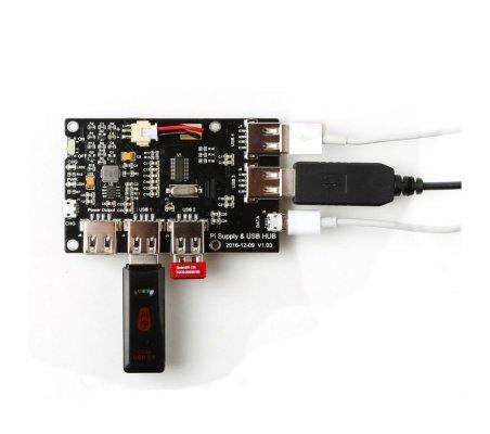 Pi Supply and USB HUB w/ 5-Port USB 2.0 and 1800mAh Lipo Battery for Raspberry Pi | Varios - Raspberry Pi |