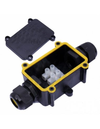 Waterproof Junction Box 2P w/ 3way 0.5-2.5mm² Cables 24A 450V IP68
