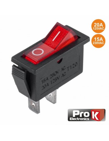 Switch SPST 250V 15A ON-OFF w/ light - Vermelho