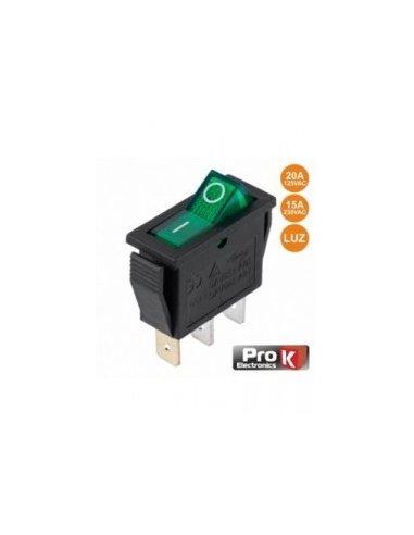 Switch SPST 250V 15A ON-OFF w/ light - Verde | Basculante |