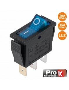 Switch SPST 250V 15A ON-OFF w/ light - Blue