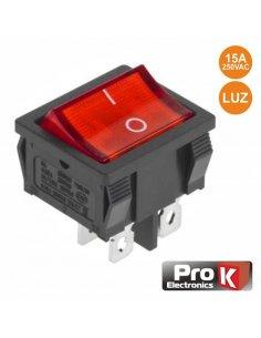 Switch SPST 15A 250V ON-OFF w/ light - Red
