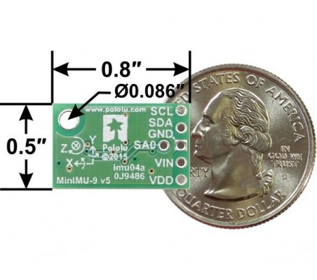 MinIMU-9 v5 Gyro, Accelerometer and Compass (LSM6DS33 and LIS3MDL Carrier) | IMU |