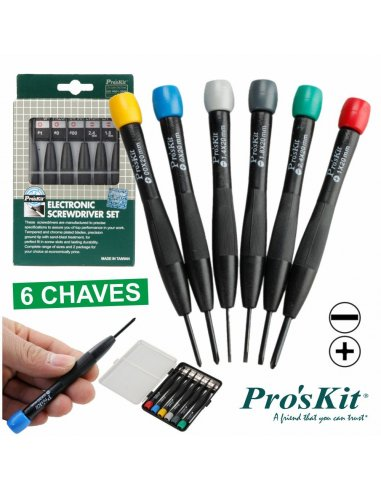 Pro'sKit 8PK-2061 6 Pcs Electronic Screwdriver Set | Chaves de Precisão |