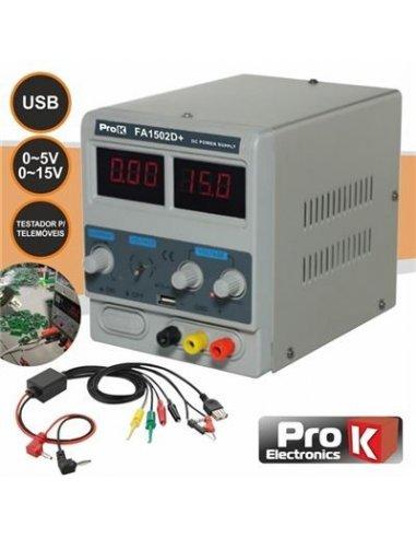 PKFA1502D+ Digital Power Supply 0-15V 0-2A w/ USB ProK