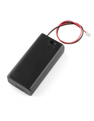 Battery Holder 2xAA with Cover and Switch - JST Connector   Suporte Pilhas  