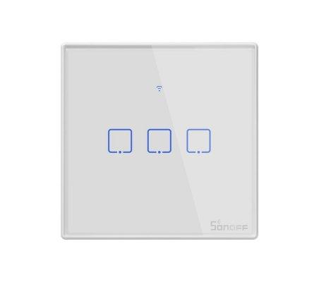 Sonoff T1 EU: TX Series WiFi Wall Switch 3 Gang - Branco   Wireless  