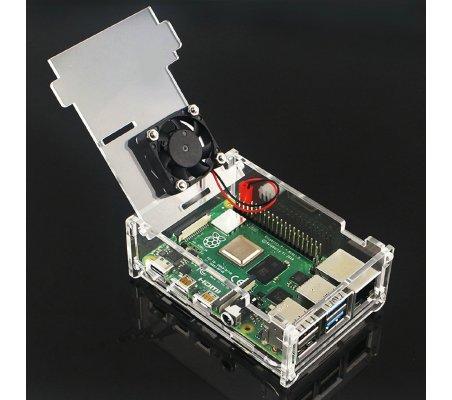 Transparent Acrylic Case w/ Cooling Fan for Raspberry Pi 4   Caixas Raspberry pi  