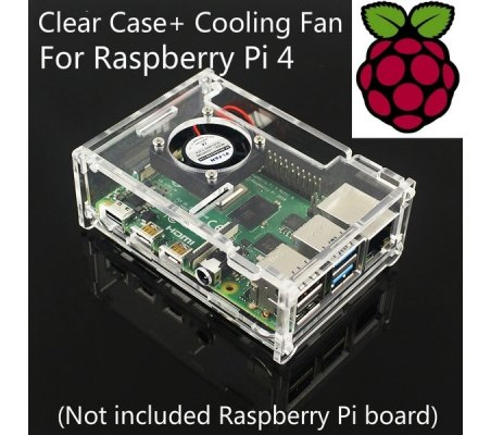Transparent Acrylic Case w/ Cooling Fan for Raspberry Pi 4